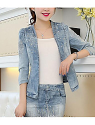 cheap -Women's Daily Going out Street chic Fall Denim Jacket,Solid Stand ¾ Sleeve Short Polyester