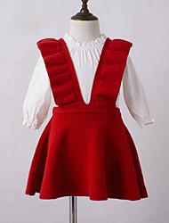 abordables -Robe Fille de Sortie Couleur Pleine Coton Sans Manches Princesse Chic de Rue Marron Rouge Marine Gris