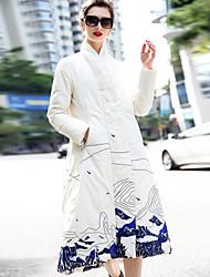 Dámské Dlouhé Dlouhý kabát Čínské vzory Jdeme ven Běžné/Denní Tisk-Kabát Polyester Dlouhé rukávy