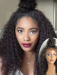 cheap -Human Hair Lace Front Wig Brazilian Hair Kinky Curly Wig 130% Natural Hairline / 100% Virgin / Unprocessed Women's Long Human Hair Lace Wig