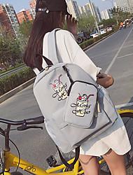 baratos -Mulheres Bolsas Tela de pintura mochila Estampa para Casual Preto / Rosa / Cinzento Claro