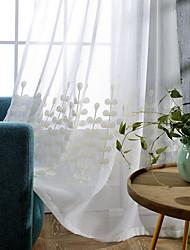 oeillets Plis double Plis crayon Le traitement de fenêtre Moderne , Couleur Pleine Imprimés Photos Salle de séjour Coton Matériel Rideaux