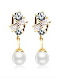 Damen Kreolen Perle Elegant Perle vergoldet Schmuck Für Hochzeit Alltag
