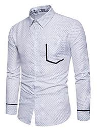 Langærmet Krave Herrer Ensfarvet Vintage Afslappet/Hverdag Skjorte,Bomuld Akryl Andet