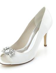baratos -Mulheres Sapatos Cetim Primavera Verão Plataforma Básica Rasteirinhas Sapatos De Casamento Salto Agulha Peep Toe Pedrarias para Casamento