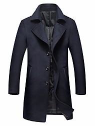 cheap -Men's Long Wool / Cotton Coat - Solid Colored, Buckle / Long Sleeve