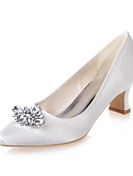 preiswerte -Damen Schuhe Satin Frühling Sommer Pumps Hochzeit Schuhe Block Ferse Quadratischer Zeh Strass Für Hochzeit Party & Festivität Purpur