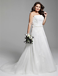 cheap -A-Line Strapless Court Train Lace Tulle Wedding Dress with Beading Appliques Sash / Ribbon Lace-up by LAN TING BRIDE®