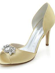 baratos -Mulheres Sapatos Cetim Primavera Verão Plataforma Básica Sapatos De Casamento Salto Agulha Peep Toe Pedrarias para Casamento Festas &