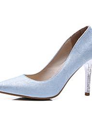 baratos -Mulheres Sapatos Courino Primavera / Verão Conforto Saltos Dedo Apontado Roxo Claro / Prateado / Azul Claro / Casamento / Festas & Noite