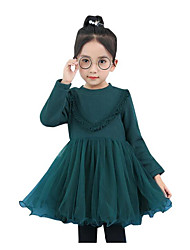 cheap -Girl's Holiday Color Block Dress,Cotton Rayon Winter Fall Long Sleeves Active Princess Green Red Light Blue