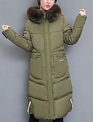 Dámské Dlouhé Dlouhý kabát Jednoduchý Běžné/Denní Jednobarevné-Kabát Polyester Dlouhý rukáv