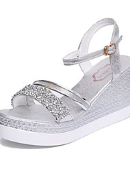 Women's Shoes PU Spring Summer Club Shoes Sandals Wedge Heel Open Toe Rhinestone Imitation Pearl Buckle For Casual Dress Gold Silver