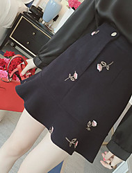 cheap -Women's Holiday Going out Above Knee Skirts,Cute A Line Flower Ruffle Print Winter Spring/Fall