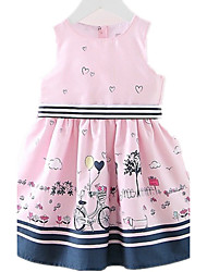 Girl's Daily Going out Holiday Print Dress,Cotton Spring Summer Sleeveless Cartoon Blushing Pink