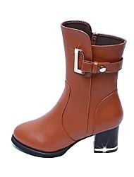 baratos -Mulheres Sapatos Courino Outono / Inverno Botas da Moda Botas Salto Robusto Ponta Redonda Botas Curtas / Ankle Presilha para Festas &