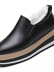 cheap -Women's Shoes PU Winter Fall Comfort Loafers & Slip-Ons Round Toe For Casual Black