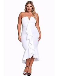 cheap -Women's Party Club Sexy Bodycon Dress,Solid V Neck Asymmetrical Sleeveless Polyester Elastane Autumn High Waist Stretchy Medium