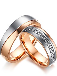cheap -Men's / Women's Cubic Zirconia Engagement Ring / Rings Set - Cubic Zirconia 6 / 7 / 8 Rose Gold For Wedding / Evening Party