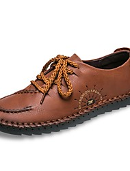 cheap -Men's Shoes Real Leather Spring Fall Comfort Oxfords Lace-up For Casual Dark Brown Light Brown