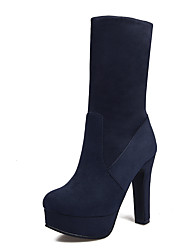 cheap -Women's Shoes Leatherette Winter Fashion Boots Boots Chunky Heel Round Toe Mid-Calf Boots For Dress Blue Black