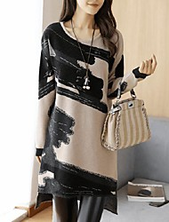 cheap -Women's Going out Loose Dress,Color Block Round Neck Asymmetrical Long Sleeve Polyester Winter Fall Mid Rise Micro-elastic Thick