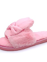 cheap -Women's Shoes Flocking PU Fall Winter Comfort Slippers & Flip-Flops Flat Heel Round Toe for Gray Fuchsia Blue Pink Light Pink