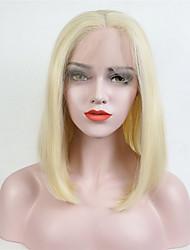 Femme Perruque Lace Front Synthétique Mi Longue Droite Blond Platine Au Milieu Coupe Carré Perruque Naturelle Perruque Déguisement