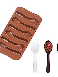 cheap -Food Grade Silicone Chocolate Mold Spoon Shape 3D Fondant Mould For Cake DIY Decorating Tools