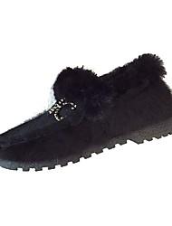 Femme Chaussures Cachemire Hiver Confort Mocassins et Chaussons+D6148 Bout rond Plume Pour Décontracté Noir Marron