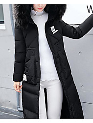cheap -Women's Padded Coat,Cute Going out Solid-Polyester Long Sleeves