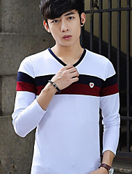 Men's Daily Wear Vintage T-shirt,Striped V Neck Long Sleeves Cotton