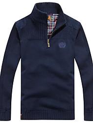 cheap -Men's Daily Regular Pullover,Print Turtleneck Long Sleeves Cotton Medium Micro-elastic