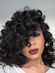 cheap -Human Hair Lace Front Wig Brazilian Hair Deep Wave Layered Haircut Bob Haircut With Baby Hair 150% Density Unprocessed 100% Virgin