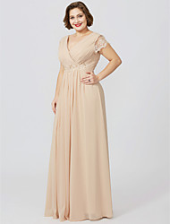 cheap -Sheath / Column V-Neck Floor Length Jersey Plus Size Mother of the Bride Dress with Appliques by LAN TING BRIDE®