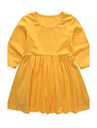 cheap -Girl's Dress,Cotton Long Sleeves Street chic Princess Black Yellow