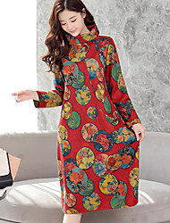 cheap -Women's Daily Casual Loose Dress,Floral Turtleneck Midi Long Sleeve Acrylic Winter Fall Mid Rise Inelastic Thick