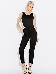 cheap -Women's Going out Holiday Sexy Summer Tank Top Pant Suits,Solid Halter 70%Wool30%Cotton Micro-elastic