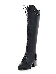 Femme Chaussures Similicuir Printemps Automne Confort Bottes Cavalières Bottes à la Mode Bottes Bout pointu Bottes Rivet Pour Décontracté
