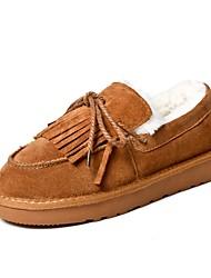 Femme Chaussures Cuir Nubuck Hiver Automne Confort Mocassins et Chaussons+D6148 Talon Plat Bout rond Pour Noir Beige Gris Marron