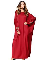 baratos -Mulheres balanço Vestido Sólido Longo Vermelho