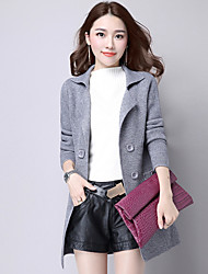 cheap -Women's Daily Going out Solid Shirt Collar Blazer Cardigan, Long Sleeves Winter Fall