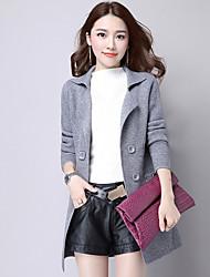 cheap -Women's Long Sleeves Long Cardigan - Solid Shirt Collar
