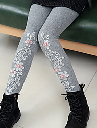 cheap -Girls' Solid Jacquard Cartoon Pants,Cotton Winter Fall Cute Casual Active Cartoon Black Gray