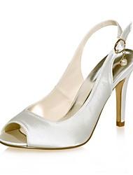 preiswerte -Damen Schuhe Satin Frühling Sommer Pumps Hochzeit Schuhe Stöckelabsatz Peep Toe Imitationsperle für Hochzeit Party & Festivität Purpur