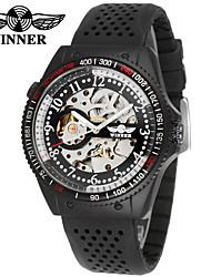 abordables -WINNER Hombre Reloj de Vestir Reloj de Pulsera El reloj mecánico Cuerda Automática Huecograbado Caucho Banda Casual Cool Negro