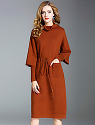 Women's Daily Going out Street chic Sweater Dress,Solid Turtleneck Knee-length Long Sleeves Rabbit Fur Polyester Nylon Mid Rise Stretchy