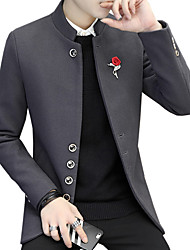 cheap -Men's Daily Wear Simple Casual Winter Fall Pea Coats,Solid Stand Long Sleeve Regular Polyester Button