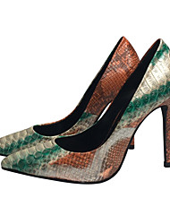 Women's Shoes Nappa Leather Spring Fall Comfort Novelty Heels Pointed Toe Animal Print For Wedding Party & Evening Green