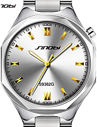 cheap -SINOBI Men's Wrist Watch Japanese Water Resistant / Water Proof / Large Dial Aluminium Alloy Band Luxury / Minimalist Silver / Sony S626 / Two Years